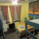 2 sets of bunks and queen bed.  Street view